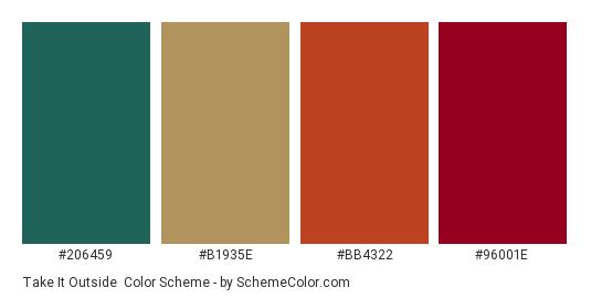 Take it Outside - Color scheme palette thumbnail - #206459 #b1935e #bb4322 #96001e