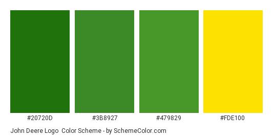 John Deere Logo - Color scheme palette thumbnail - #20720d #3b8927 #479829 #fde100