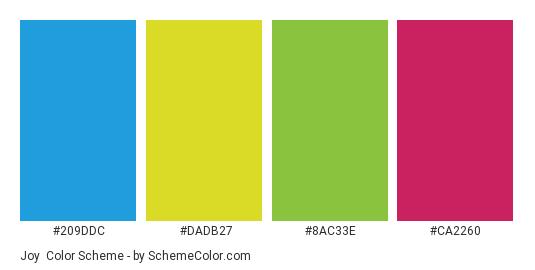 Joy - Color scheme palette thumbnail - #209DDC #DADB27 #8AC33E #CA2260