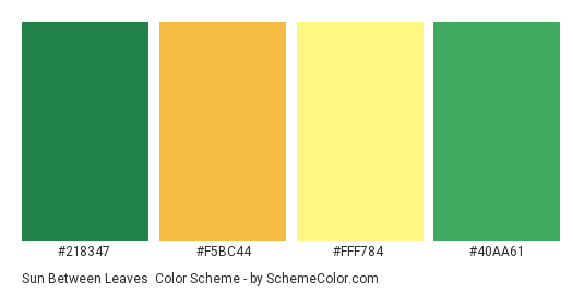 Sun Between Leaves - Color scheme palette thumbnail - #218347 #F5BC44 #FFF784 #40aa61