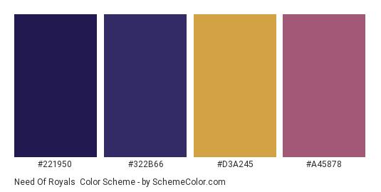 Need of Royals - Color scheme palette thumbnail - #221950 #322b66 #d3a245 #a45878