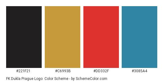 FK Dukla Prague Logo - Color scheme palette thumbnail - #221f21 #c6993b #dd332f #3085a4