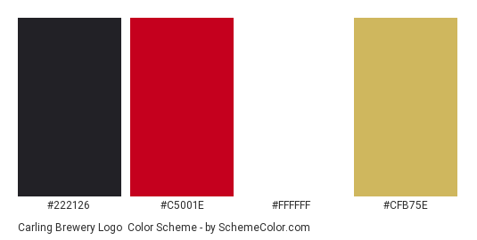 Carling Brewery Logo - Color scheme palette thumbnail - #222126 #c5001e #ffffff #cfb75e