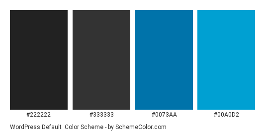 WordPress Default - Color scheme palette thumbnail - #222222 #333333 #0073aa #00a0d2