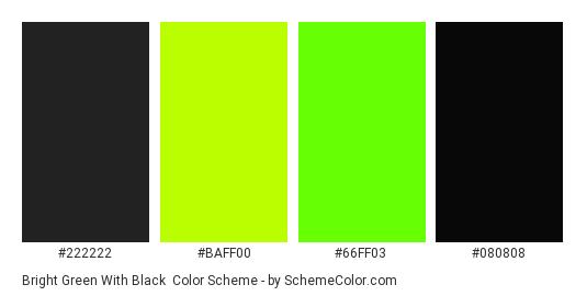 Bright Green with Black - Color scheme palette thumbnail - #222222 #baff00 #66ff03 #080808