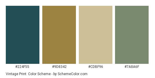 Vintage Print - Color scheme palette thumbnail - #224f55 #9d8342 #cdbf96 #7a8a6f