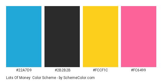 Lots of Money - Color scheme palette thumbnail - #22a7d9 #2b2b2b #fccf1c #fc6499