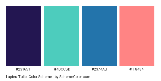 Lapies Tulip - Color scheme palette thumbnail - #231651 #4dccbd #2374ab #ff8484