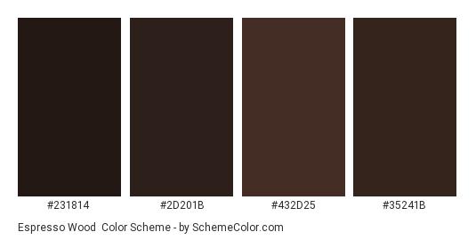 Espresso Wood - Color scheme palette thumbnail - #231814 #2d201b #432d25 #35241b