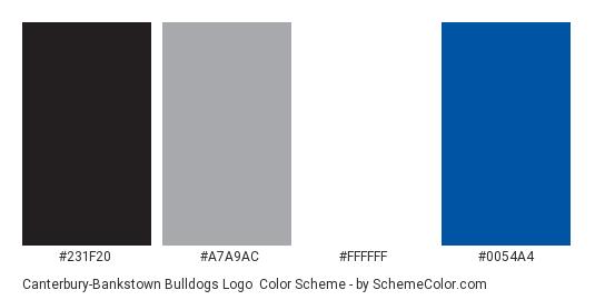 Canterbury-Bankstown Bulldogs Logo - Color scheme palette thumbnail - #231f20 #a7a9ac #ffffff #0054a4