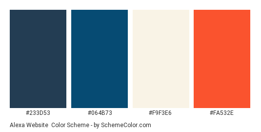 Alexa Website - Color scheme palette thumbnail - #233D53 #064B73 #F9F3E6 #FA532E