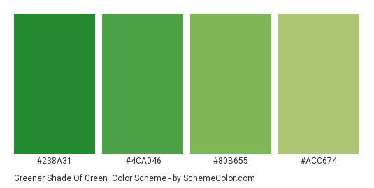 Greener Shade of Green - Color scheme palette thumbnail - #238a31 #4ca046 #80b655 #acc674