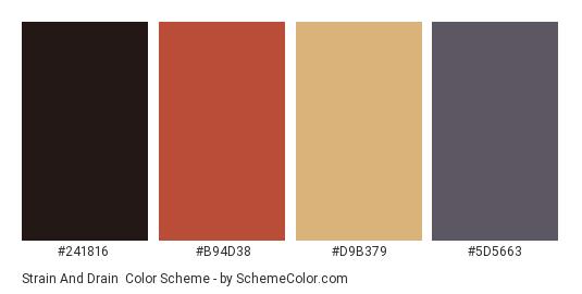 Strain and Drain - Color scheme palette thumbnail - #241816 #B94D38 #D9B379 #5D5663