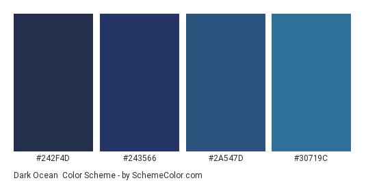 Dark Ocean - Color scheme palette thumbnail - #242F4D #243566 #2A547D #30719C