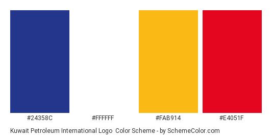 Kuwait Petroleum International Logo - Color scheme palette thumbnail - #24358c #ffffff #fab914 #e4051f