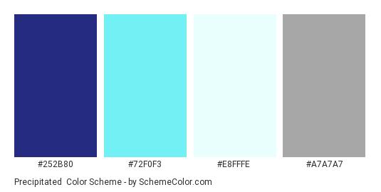 Precipitated - Color scheme palette thumbnail - #252b80 #72f0f3 #e8fffe #a7a7a7