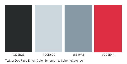 Twitter Dog Face Emoji - Color scheme palette thumbnail - #272b2b #ccd6dd #8899a6 #dd2e44