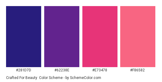 Crafted for Beauty - Color scheme palette thumbnail - #281D7D #62238E #E73478 #F86582