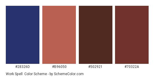 Work Spell - Color scheme palette thumbnail - #28326d #b96050 #502921 #70322a
