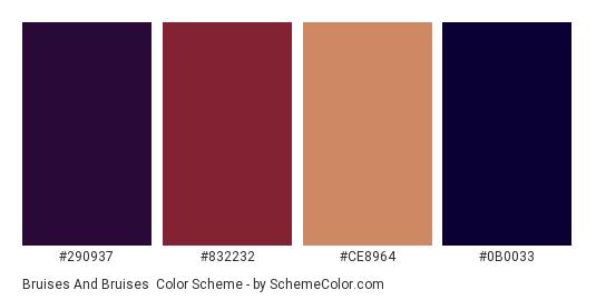 Bruises and Bruises - Color scheme palette thumbnail - #290937 #832232 #CE8964 #0B0033