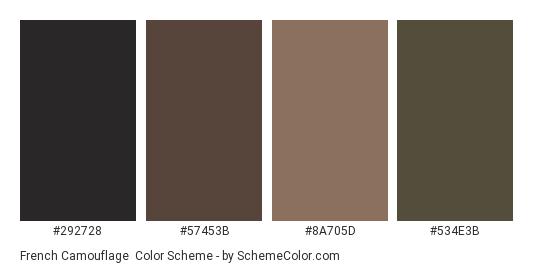 French Camouflage - Color scheme palette thumbnail - #292728 #57453b #8a705d #534e3b
