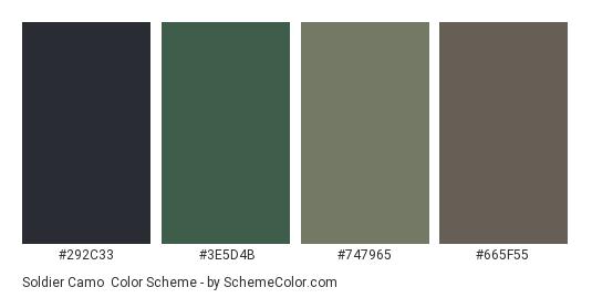 Soldier Camo - Color scheme palette thumbnail - #292C33 #3E5D4B #747965 #665F55