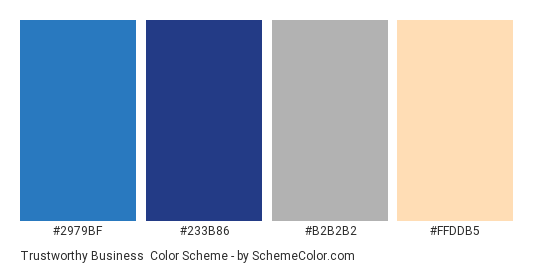 Trustworthy Business - Color scheme palette thumbnail - #2979bf #233b86 #b2b2b2 #ffddb5
