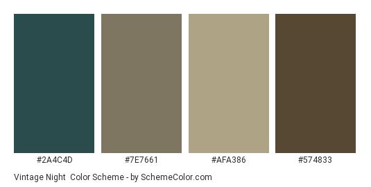 Vintage Night - Color scheme palette thumbnail - #2A4C4D #7E7661 #afa386 #574833