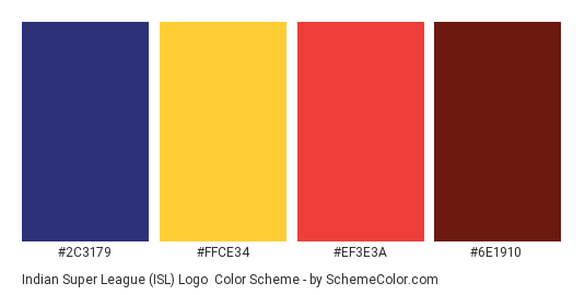Indian Super League (ISL) Logo - Color scheme palette thumbnail - #2C3179 #FFCE34 #EF3E3A #6E1910