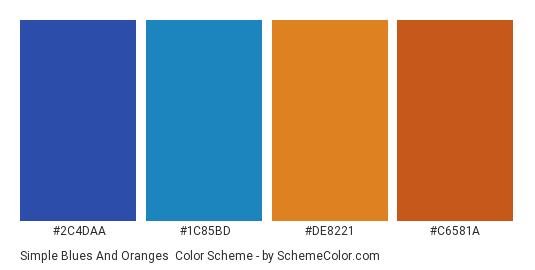 Simple Blues and Oranges - Color scheme palette thumbnail - #2C4DAA #1C85BD #DE8221 #C6581A
