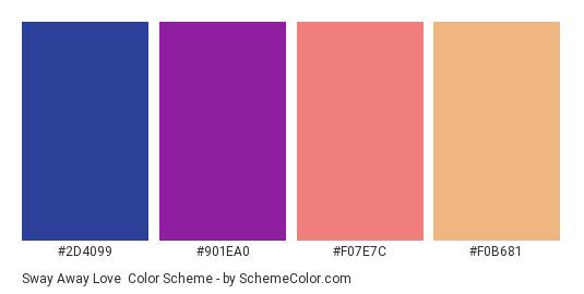Sway Away Love - Color scheme palette thumbnail - #2D4099 #901EA0 #F07E7C #F0B681