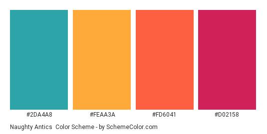 Naughty Antics - Color scheme palette thumbnail - #2DA4A8 #FEAA3A #FD6041 #D02158
