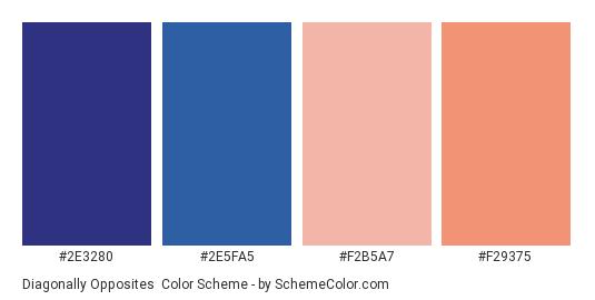 Diagonally Opposites - Color scheme palette thumbnail - #2E3280 #2E5FA5 #F2B5A7 #F29375
