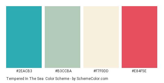 Tempered in the Sea - Color scheme palette thumbnail - #2EACB3 #B3CCBA #F7F0DD #E84F5E