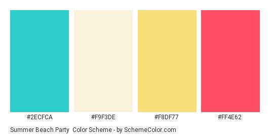 Summer Beach Party - Color scheme palette thumbnail - #2ECFCA #F9F3DE #F8DF77 #FF4E62
