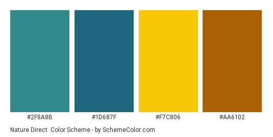 Nature Direct - Color scheme palette thumbnail - #2F8A8B #1D687F #F7C806 #AA6102