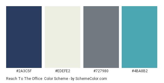 Reach to the Office - Color scheme palette thumbnail - #2a3c5f #edefe2 #727980 #4ba8b2