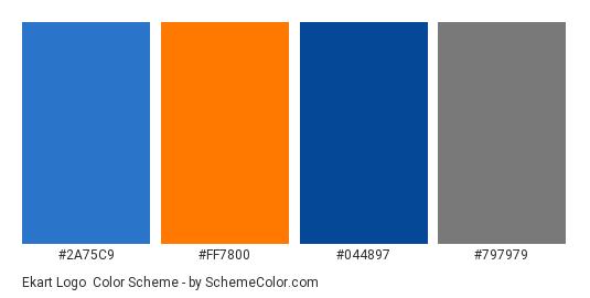 Ekart Logo - Color scheme palette thumbnail - #2a75c9 #ff7800 #044897 #797979