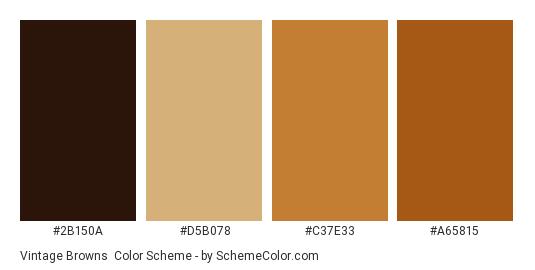 Vintage Browns - Color scheme palette thumbnail - #2b150a #d5b078 #c37e33 #a65815