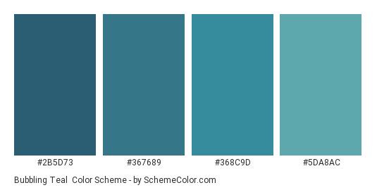 Bubbling Teal - Color scheme palette thumbnail - #2b5d73 #367689 #368c9d #5da8ac