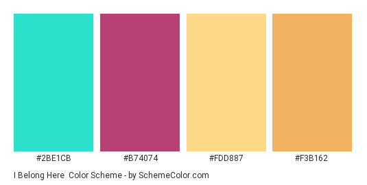 I Belong Here - Color scheme palette thumbnail - #2be1cb #b74074 #fdd887 #f3b162