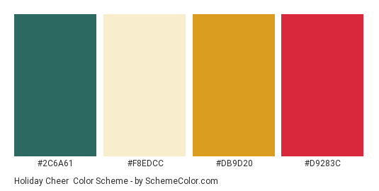 Holiday Cheer - Color scheme palette thumbnail - #2c6a61 #f8edcc #db9d20 #d9283c