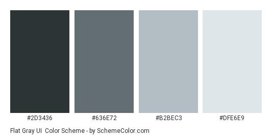 Flat Gray UI - Color scheme palette thumbnail - #2d3436 #636e72 #b2bec3 #dfe6e9