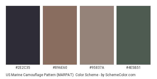 US Marine Camouflage Pattern (MARPAT) - Color scheme palette thumbnail - #2e2c35 #896e60 #95837a #4e5b51