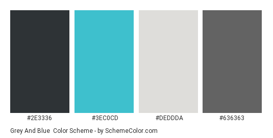 Grey And Blue Color Scheme Palette Thumbnail 2e3336 3ec0cd Deddda