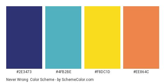 Never Wrong - Color scheme palette thumbnail - #2e3473 #4fb2be #f8dc1d #ee864c