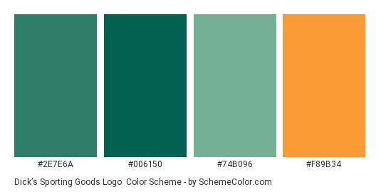 Dick's Sporting Goods Logo - Color scheme palette thumbnail - #2e7e6a #006150 #74b096 #f89b34