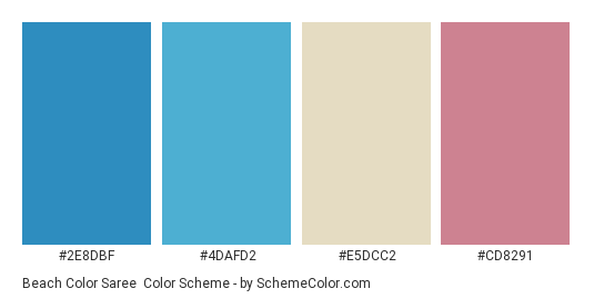 Beach Color Saree Scheme Palette Thumbnail 2e8dbf 4dafd2 E5dcc2