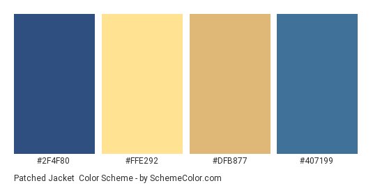 Patched Jacket - Color scheme palette thumbnail - #2f4f80 #ffe292 #dfb877 #407199