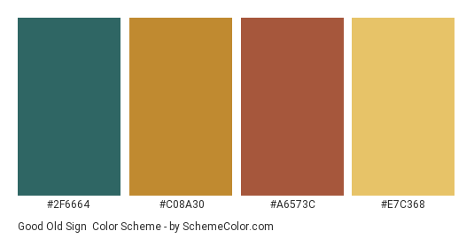 Good Old Sign - Color scheme palette thumbnail - #2f6664 #c08a30 #a6573c #e7c368